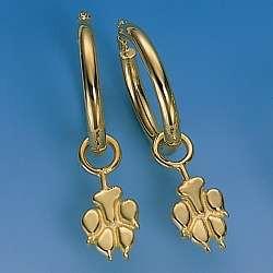 Aparte Ohrstecker Hundepfote in Gold und Silber