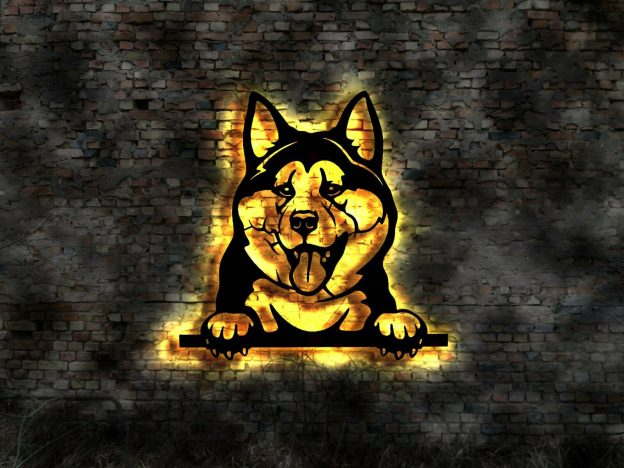 3D-Wanddekoration Hund mit LED Licht