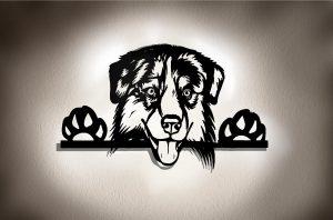 Australian Shepherd 3D Wandbild aus Holz mit LED Leuchte