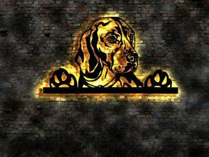 Hunde 3D Wanddeko Holz mit LED Licht