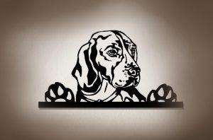 Hundemotiv Beagle 3D-Effekt Wandbild aus Holz mit LED Licht