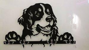 Berner Sennenhund 3D-Schlüsselbrett aus Holz - Leinengarderobe