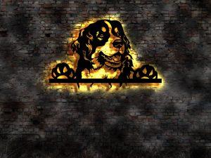 Berner Sennenhund 3D Wandbild aus Holz mit LED Leuchte