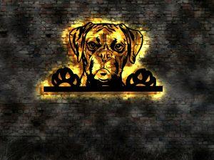 Boxer Hund 3 D Wandbild aus Holz mit LED Leuchte