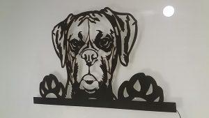 Boxer Hund 3 D Wandbild aus Holz ohne LED Leuchte
