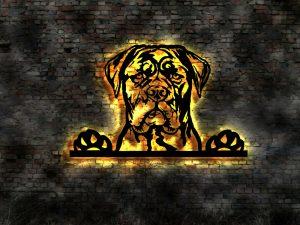 Cane Corso Hund 3D-Wandbild aus Holz mit LED Leuchte