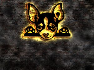 Chihuahua 3D LED Leuchtschild aus Holz Schild Deko