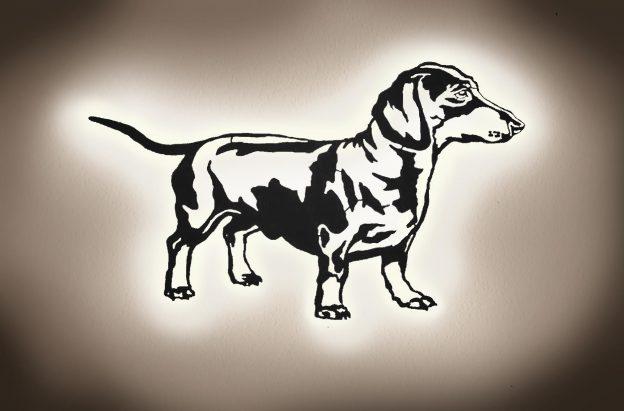 3D-Hunde-Wanddeko LED Licht Geschenke aus Holz