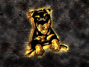 3D-Wandbild Hunde aus Holz mit LED Licht