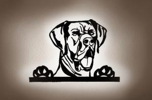 Dogge 3D-Effekt Wandbild aus Holz mit LED Licht hinterleuchtet