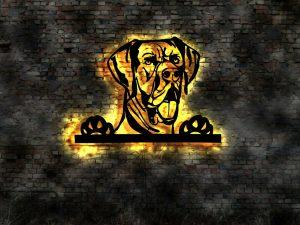 Dogge 3D-Wanddekoration aus Holz mit LED Licht
