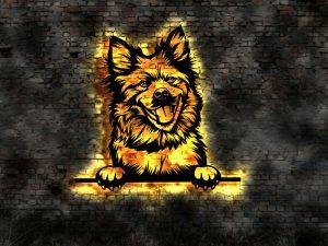 Eurasier Hund 3D-Effekt Wandbild aus Holz mit LED Leuchte