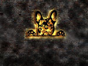 Französische Bulldogge 3D Wandbild aus Holz mit LED Leuchte