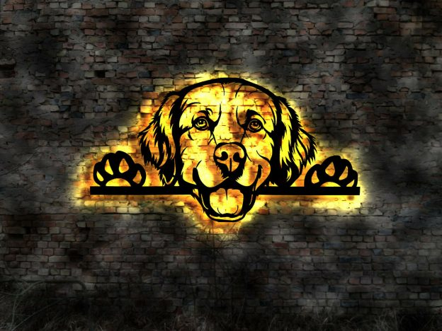 Golden Retriever Hund 3D-Wandbild Holz mit LED Licht