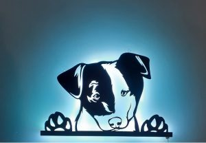 3D-LED Wandbild aus Holz nach Ihrem Hunde Bild