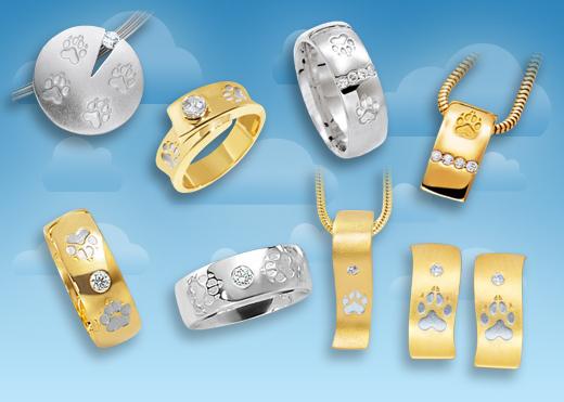 Designer Schmuck mit Pfoten für Hundefans in Gold und Silber