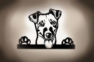 Jack-Russell-Terrier 3D Wandleuchtbild aus Holz mit LED Leuchte