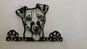 Jack-Russell-Terrier 3D-Schlüsselbrett aus Holz - Leinengarderobe