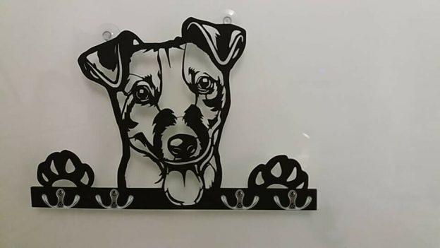 Hunde 3D-Schlüsselbrett-Hakenleiste aus Holz