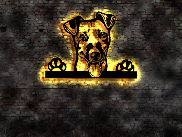 3D-Hunde-Wandbild Jack-Russell-Terrier aus Holz mit LED Leuchte