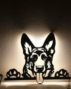 Schäferhund 3D Wandbild aus Holz mit LED Leuchte