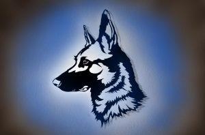 Deutscher Schäferhund 3D Wandbild aus Holz mit LED Leuchte mit Farbwechsel