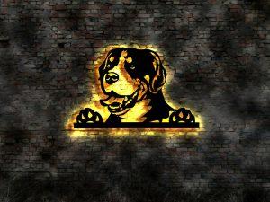 Schweizer Sennenhund 3D-Effekt Wandbild aus Holz mit LED