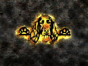 Setter Hund 3D LED Leuchtschild aus Holz Schild Deko