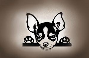 Chihuahua 3D Wandbild aus Holz mit LED Leuchte