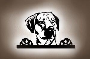 Dein Hund nach Fotovorlage als LED Wandbild aus Holz